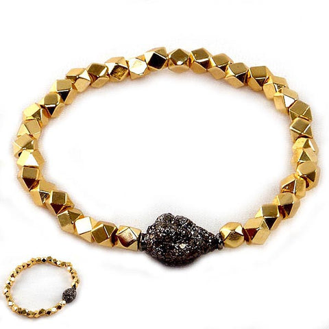 18K Gold Plated Geometric Bead Bracelet with Diamond Nugget