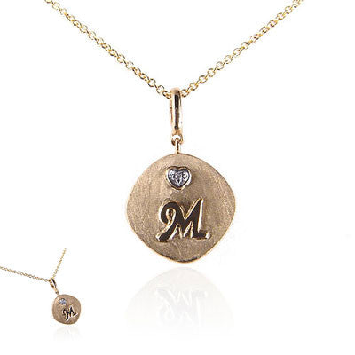 14K Yellow Gold Initial Necklace with Diamond Heart