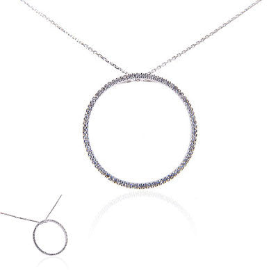 "14K White Gold and Diamond ""Circle of Life"" Necklace"