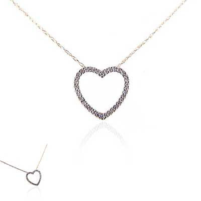 14K White Gold and Diamond Open Heart Necklace