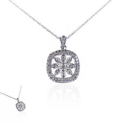 14K White Gold and Diamond Square Flower Necklace
