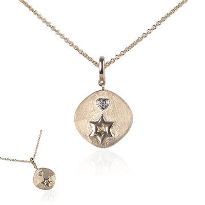 14K Yellow Gold Pendant Necklace with Star of David and Diamond Heart