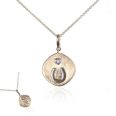 14K Yellow Gold Horseshoe Necklace with Diamond Heart
