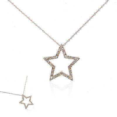 14K Yellow Gold and Diamond Star Necklace