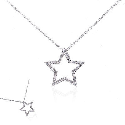 14K White Gold and Diamond Star Necklace
