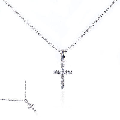 14K White Gold and Diamond Cross Necklace