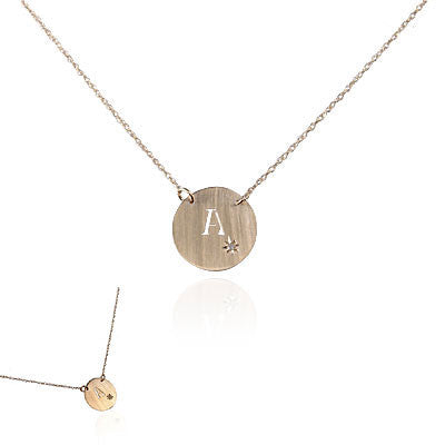 14K Yellow Gold Initial Necklace with Diamond Sparkle