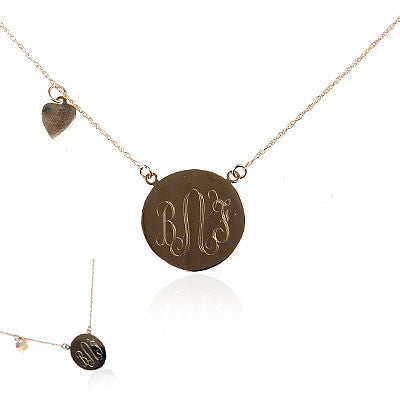 14K Yellow Gold Monogram Disc Necklace with Hanging Heart Charm
