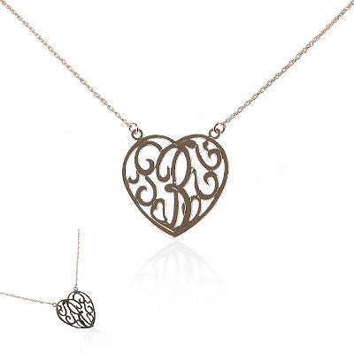 14K Yellow Gold Heart Initial Necklace