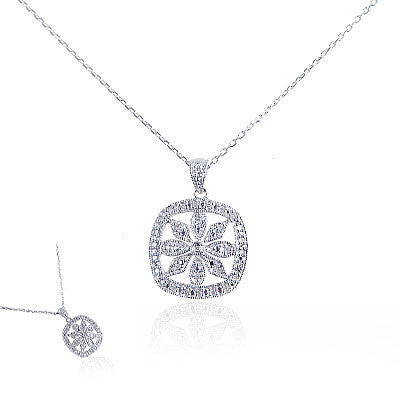 Diamond and Sterling Silver Square Flower Necklace