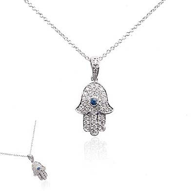 14K White Gold and Diamond Hamsa Necklace with Blue Sapphire Stone