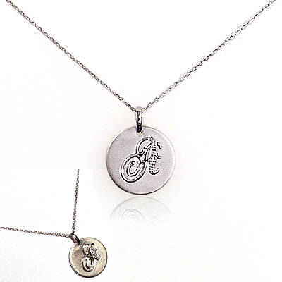 Sterling Silver Disc with Diamond Initial