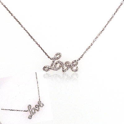 "Diamond and Sterling Silver ""Love"" Necklace"