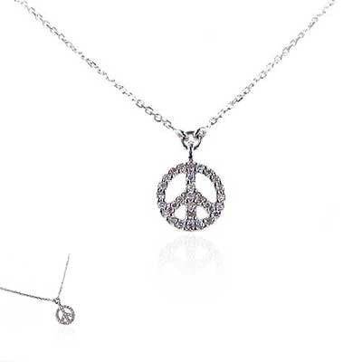 14K  White Gold and Diamond Peace Sign Necklace
