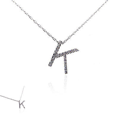 14K White Gold and Diamond Initial Necklace
