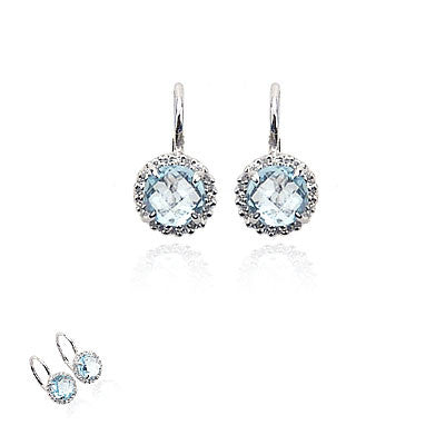 14K White Gold and Diamond Blue Topaz Earrings