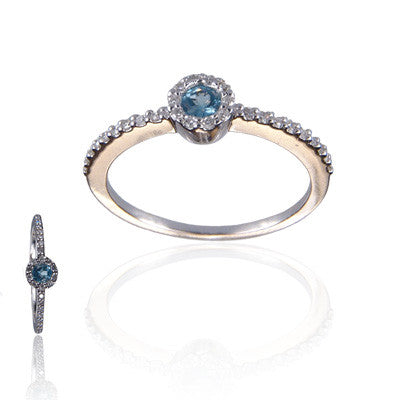14K White Gold and Blue Topaz Diamond Ring