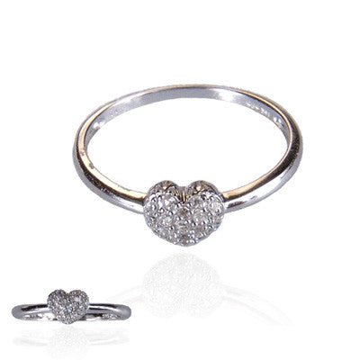 14K White Gold and Diamond Puffed Heart Ring