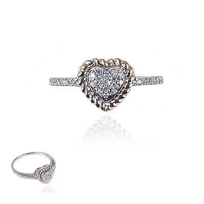 14K White and Yellow Gold Diamond Heart Ring