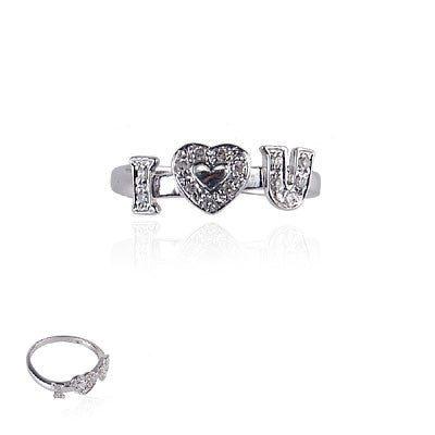 "14K White Gold and Diamond ""I love you"" ring"