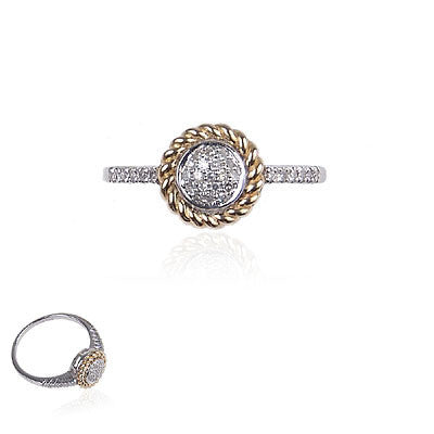 14K White Gold and Yellow Gold Diamond Ring