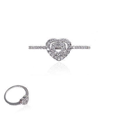 14K White Gold and Diamond Double Heart Ring