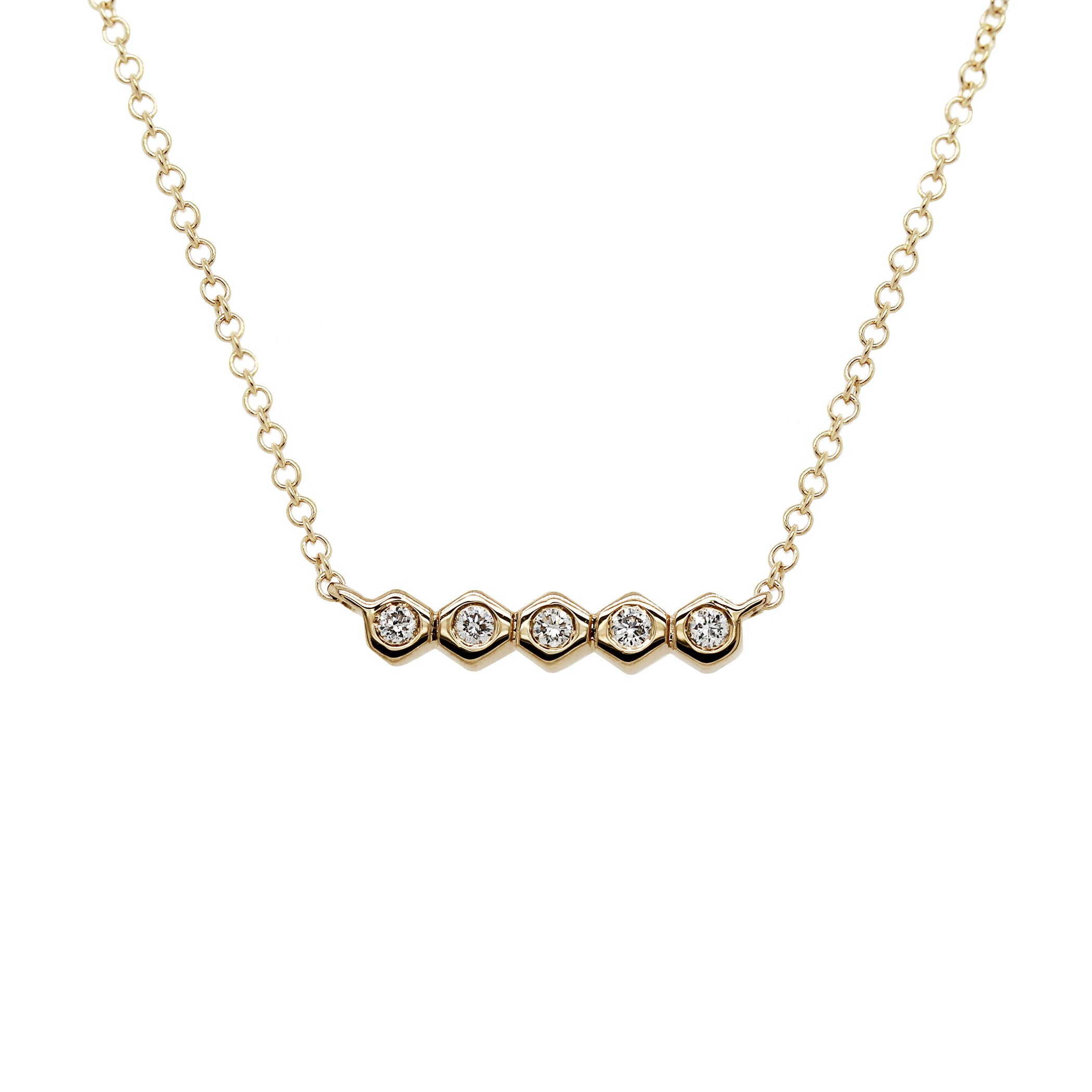 14K FIVE TINY HEXAGONS WITH SINGLE DIAMOND NECKLACE