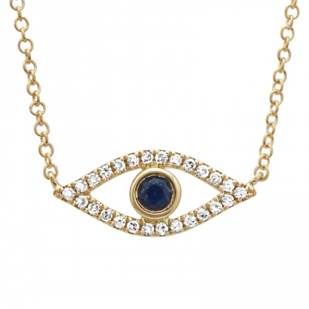 14K OPEN EVEIL EYE  WITH SAPPHIRE AND DIAMONDS NECKLACE