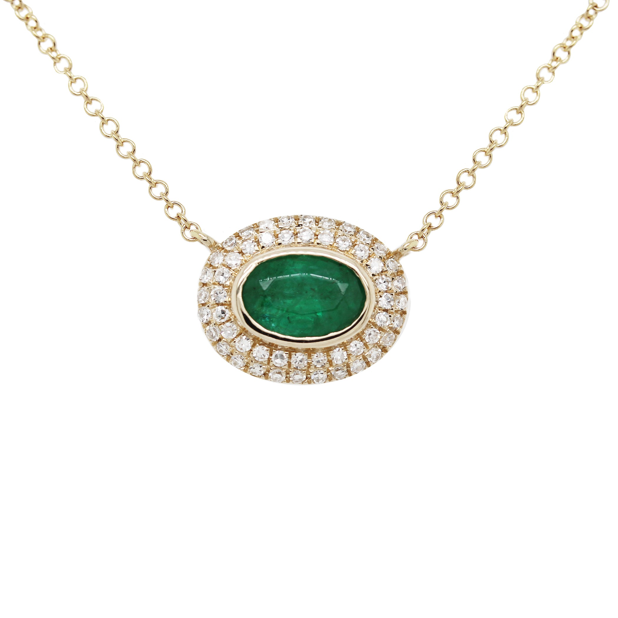 14K OVAL EMERALD WITH DOUBLE DIAMOND PAVE HALO NECKLACE