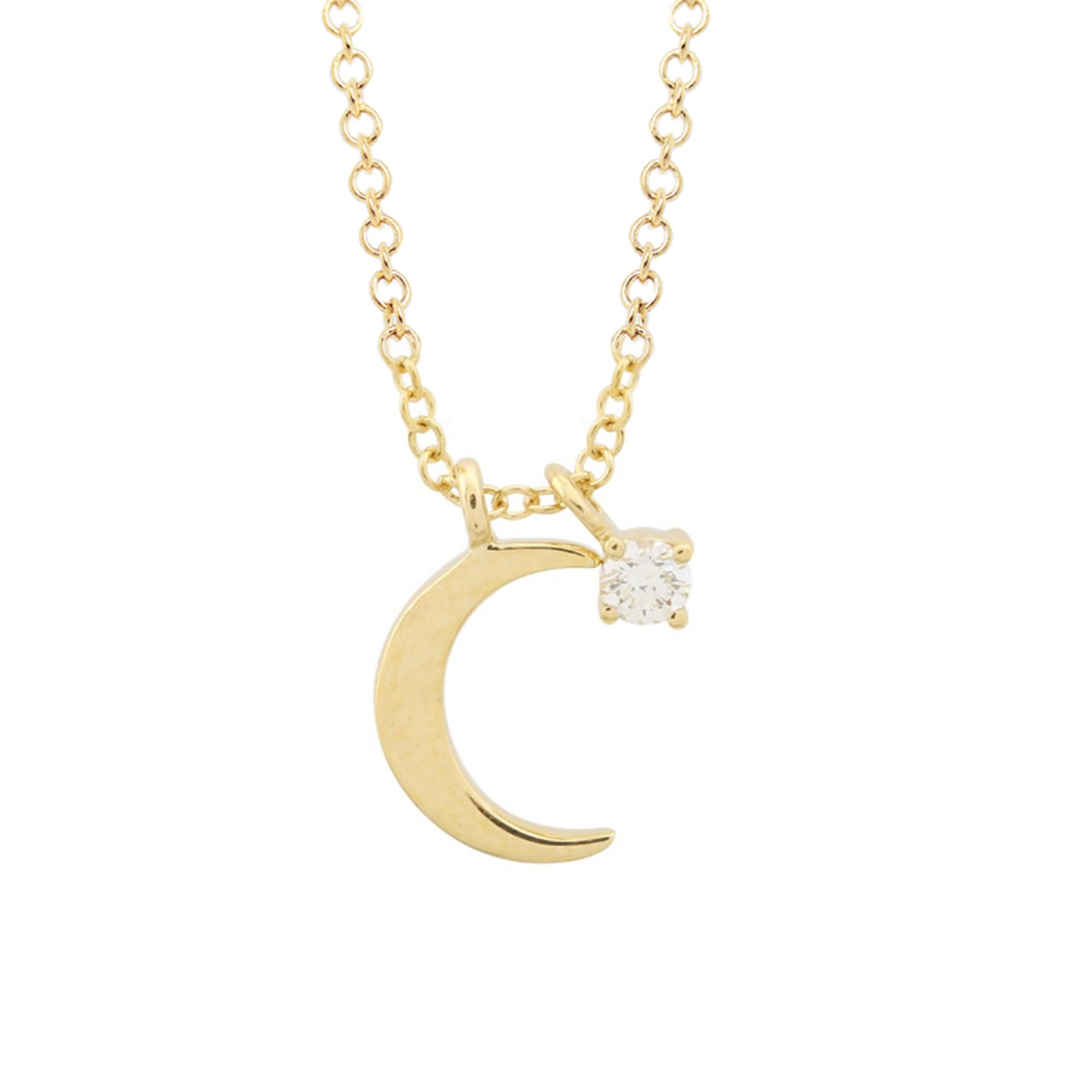 14K PLAIN CRESCENT MOON AND DIAMOND CHARM NECKLACE