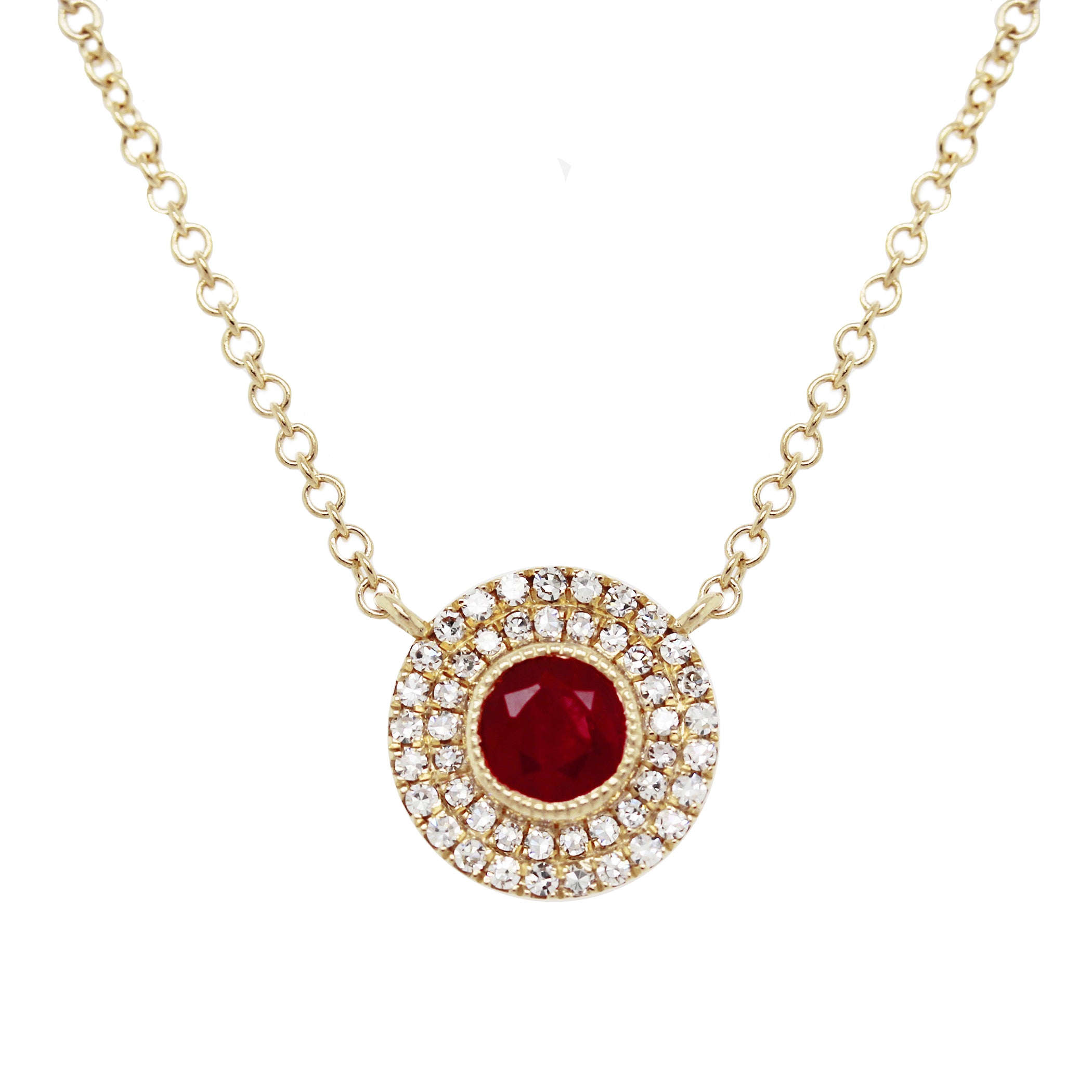 14K ROUND RUBY WITH DOUBLE DIAMOND PAVE HALO NECKLACE