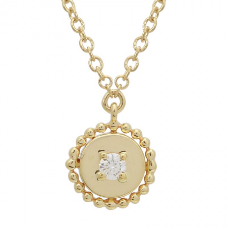 14K SMALL BEADED MEDALLION WITH SINGLE DIAMOND NECKLACE