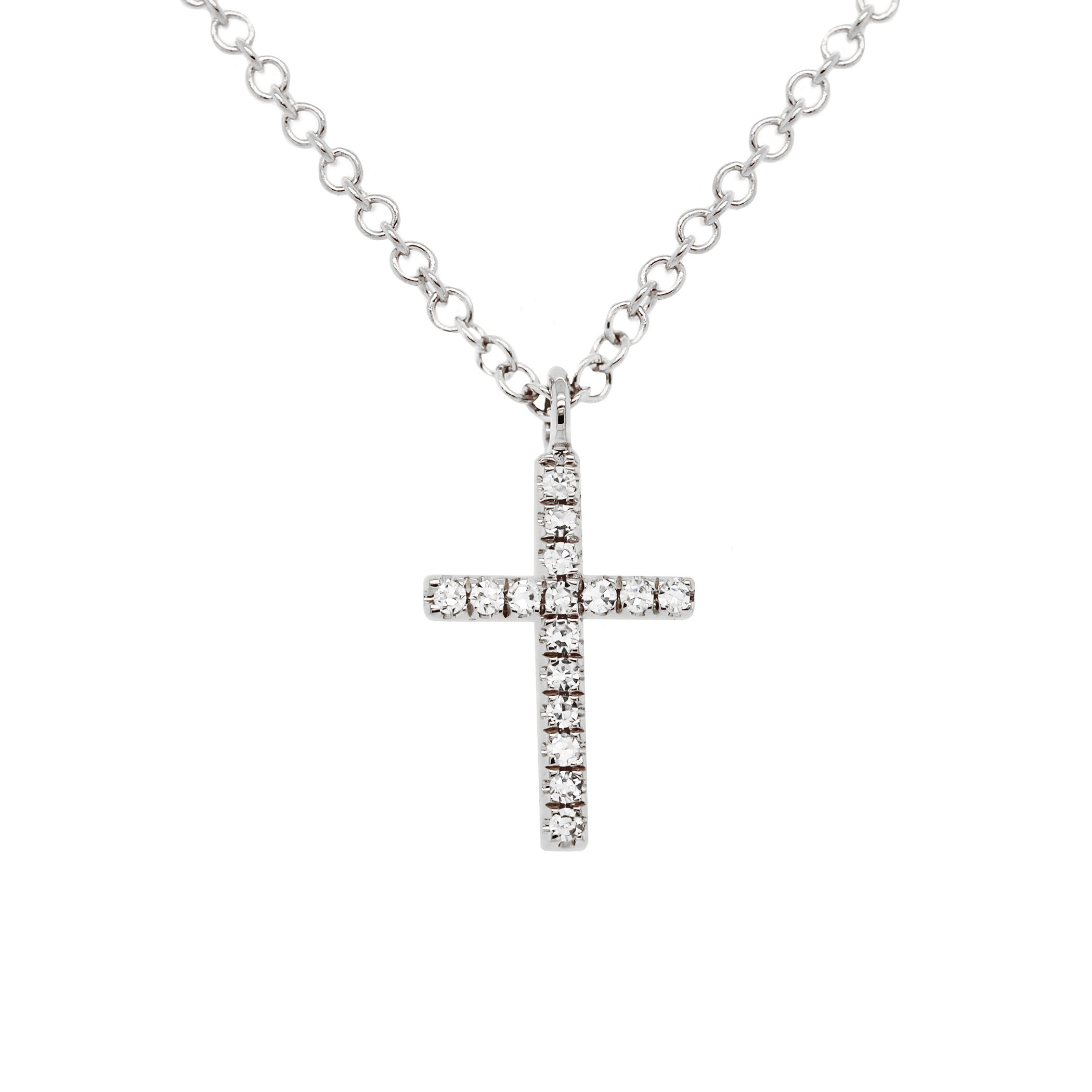 14K SMALL DANGLING DIAMOND PAVE CROSS NECKLACE