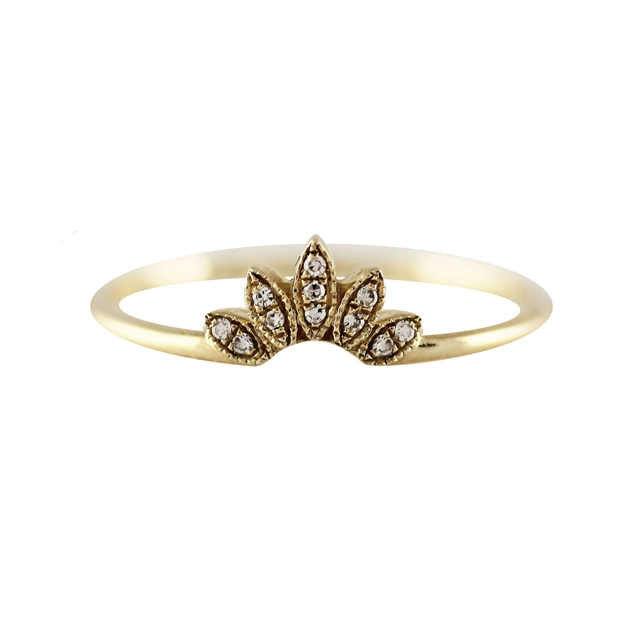 14K TINY DIAMOND PAVE MARQUISE TIARA RING
