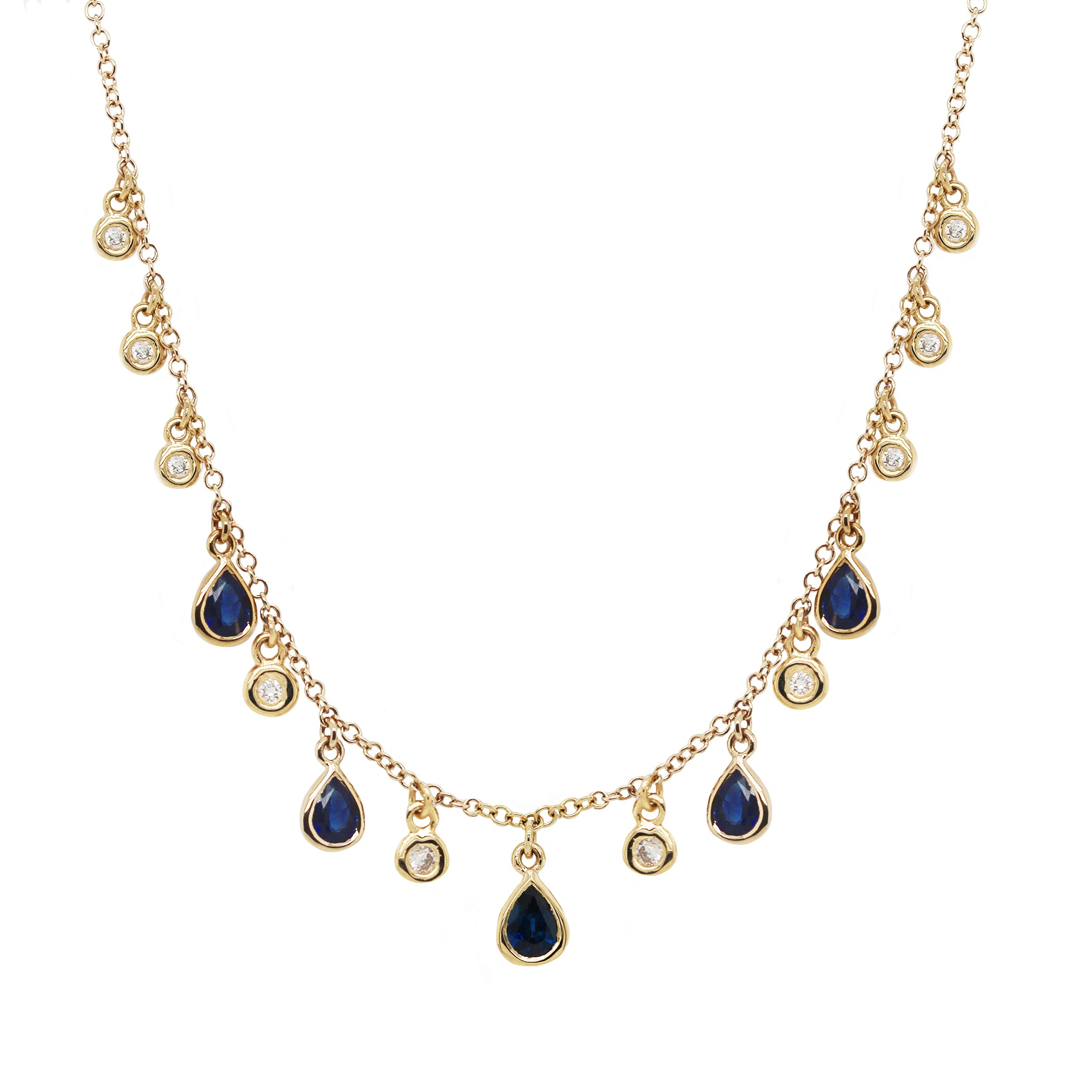 14K FIVE DANGLING PEAR SHAPE SAPPHIRES WITH DANGLING DIAMONDS NECKLACE