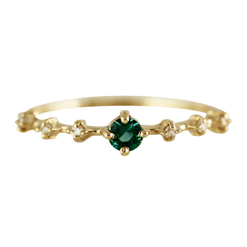 14K 3 MM ROUND EMERALD WITH SIDE DIAMONDS RING