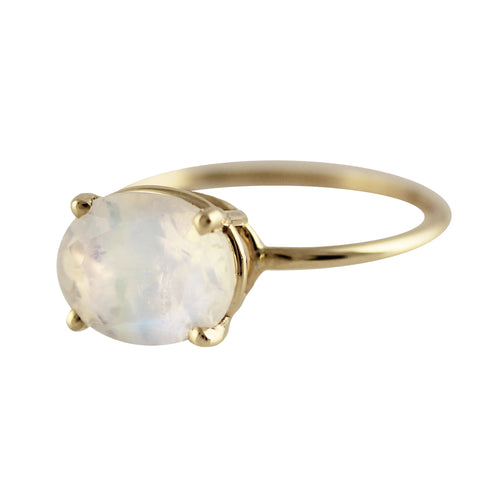 14K 10 X 8 MM OVAL MOONSTONE RING