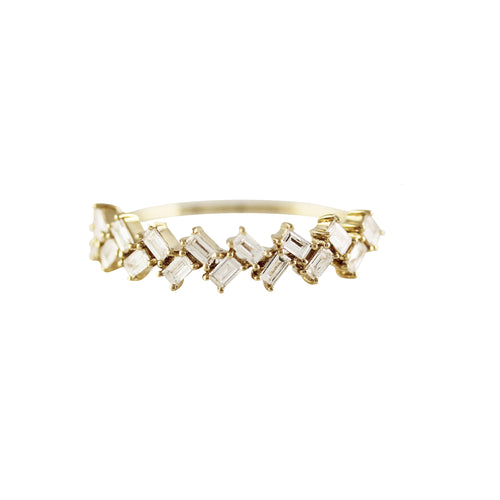 14K DIAMOND BAGUETTE BRAID RING