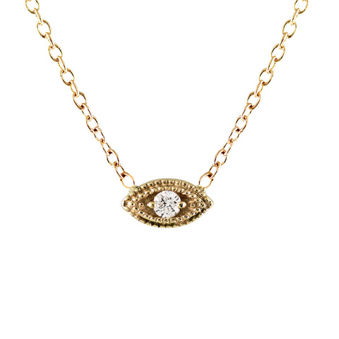14K EMERALD BAGUETTE WITH DIAMOND PAVE SIDES NECKLACE