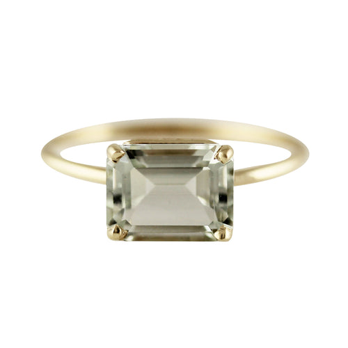 14K 9X7 MM EMERALD CUT MOSS RING