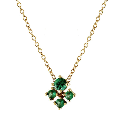 14K EMERALD TRINITY NECKLACE