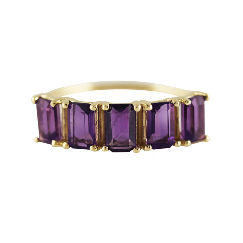 14K FIVE EMERALD CUT AMETHYST RING