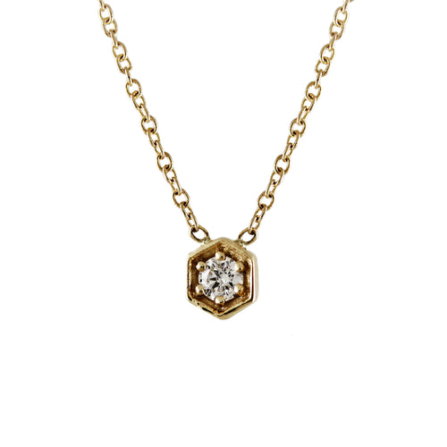 14K HEXAGON DIAMOND NECKLACE