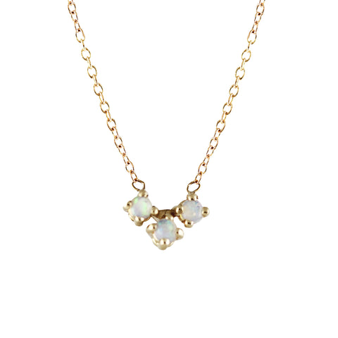 5 BEZEL DIAMOND AND OPAL BAR NECKLACE