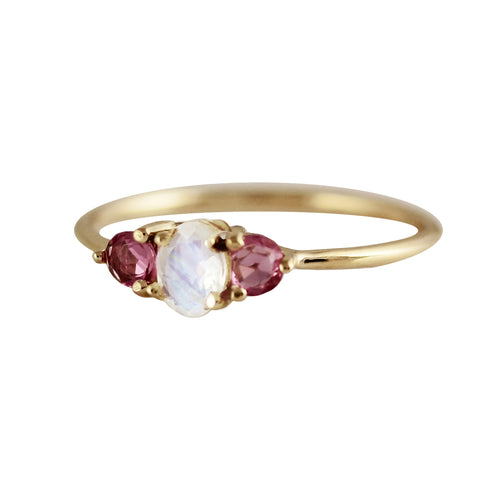14K OVAL MOONSTONE WITH ROSE CUT PINK SAPPHIRES RING