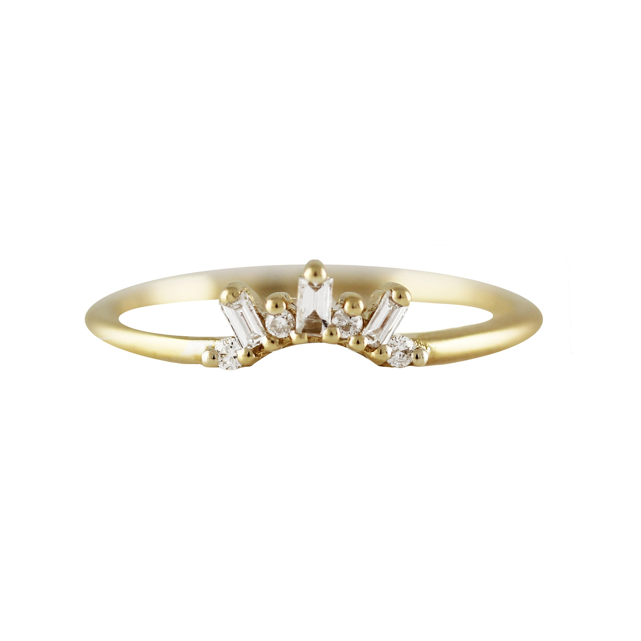 14K TINY BAGUETTE AND ROUND DIAMONDS TIARA RING