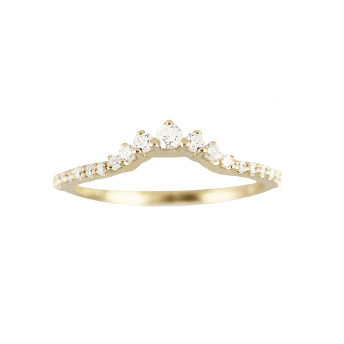 14K PETITE DIAMOND TIARA WITH SIDE PAVE BAND