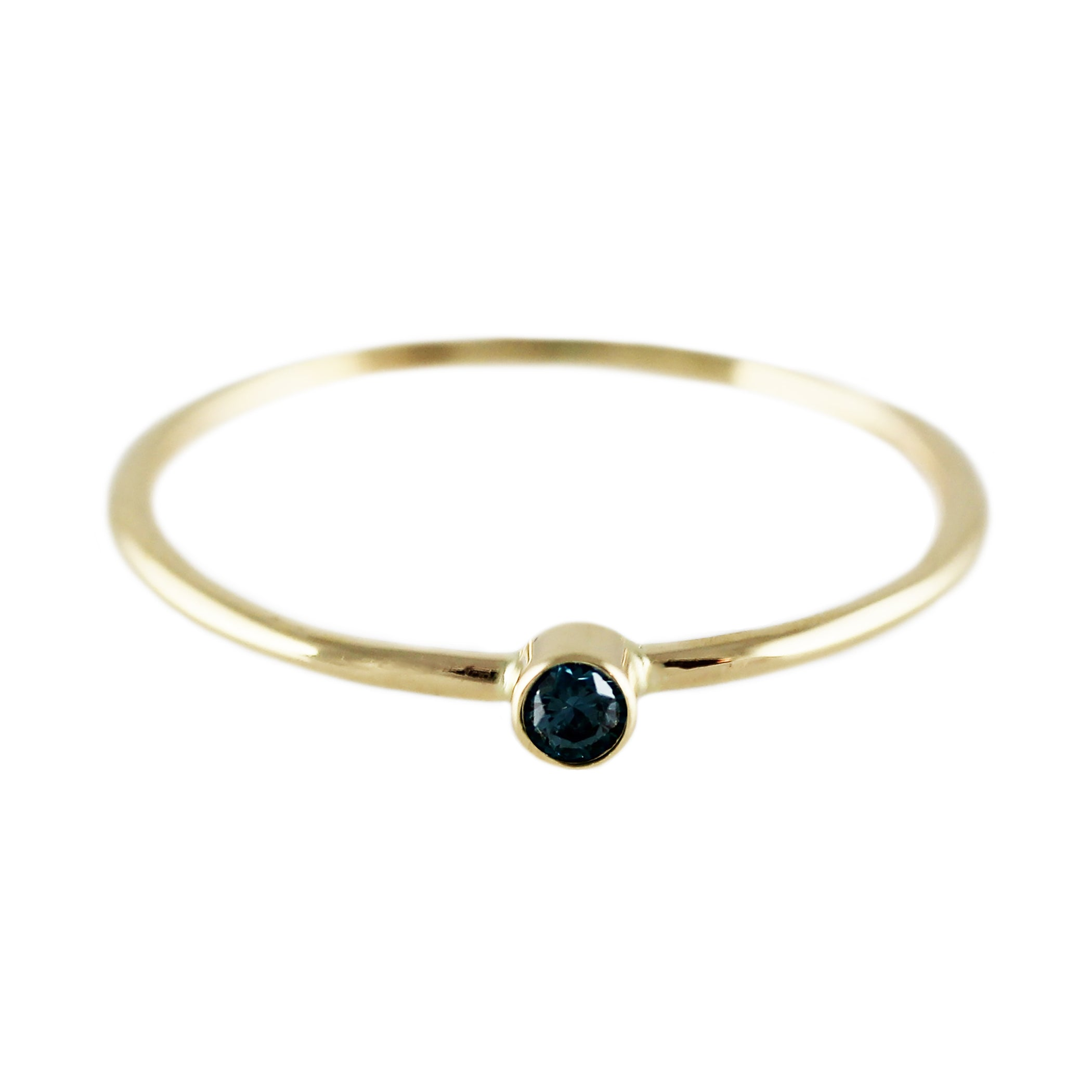 14K SINGLE BLUE DIAMOND RING