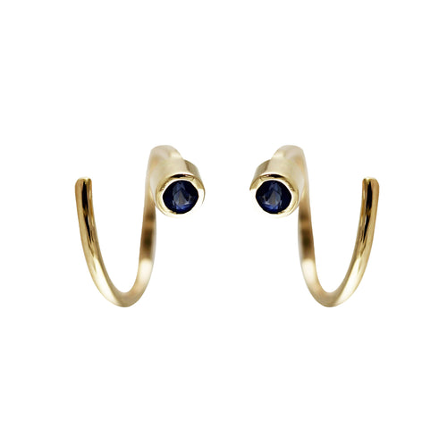 14K SPIRAL SAPPHIRE TINY HOOPS