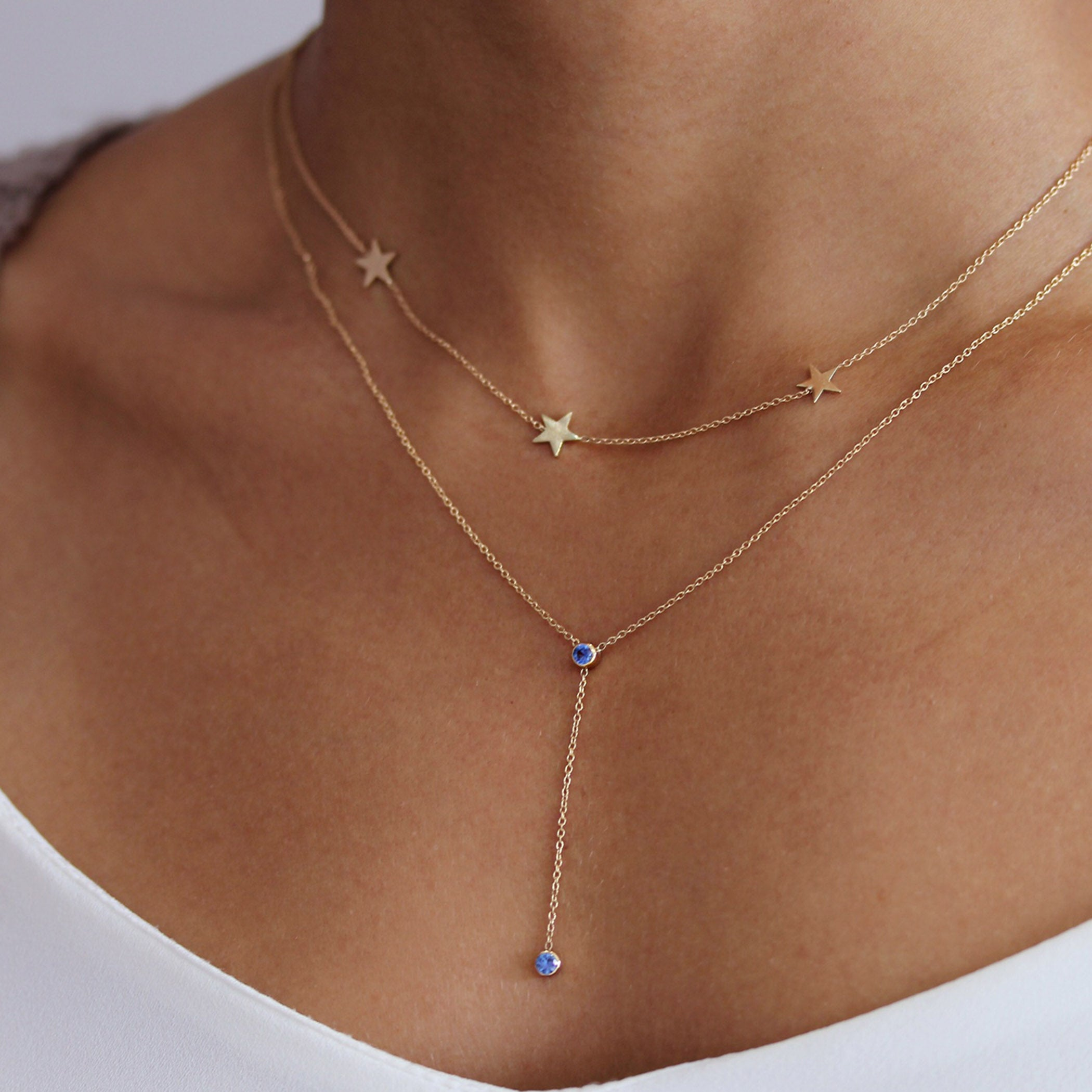 14K STAR TRIO NECKLACE